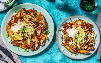 Beany Beef and Bacon Loaded Sweet Potato Wedges with Lime Soured Cream and Spring Onion