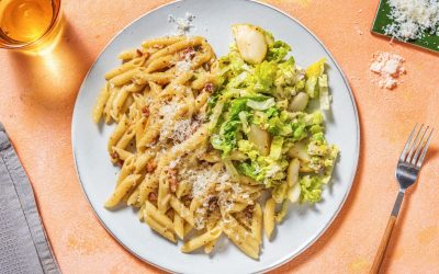 Creamy Bacon & Mustard Penne with Pear & Blue Cheese Salad
