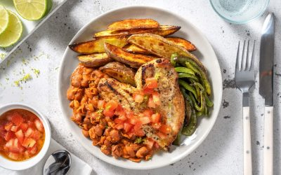 Fajita Chicken with Roasted Pepper, Refried Beans and Wedges