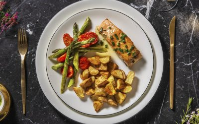 Salmon and Asparagus with Salad Potatoes and Chive Butter Sauce
