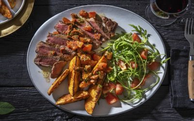 Sirloin Steak and Chorizo Salsa with Smoky Wedges and Salad