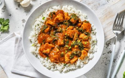 Chicken and Spinach Curry with Rice and Mango Chutney