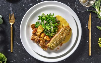 Pesto Crusted Salmon and Lemon Butter Sauce with Potatoes, Sautéed Green Beans and Tenderstem