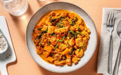 Roasted Sweet Potato and Ginger Garlic Chicken Stew with Lime and Spinach