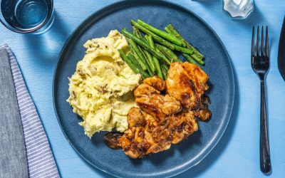 Smoky Chicken With Cheesy Mash and Garlicky Green Beans