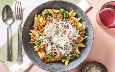 Super Quick Beef Ragu with Penne Pasta and Spinach