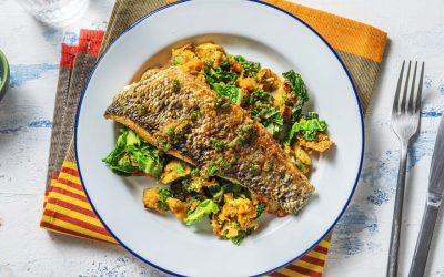 Cajun Spiced Sea Bass with Sweet Potato & Cavolo Mash with a Chive Dressing