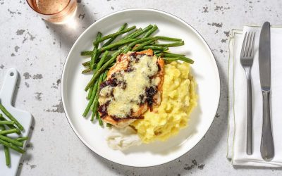 Cheese and Caramelised Onion Chicken with Garlic Mash and Stir-Fried Green Beans