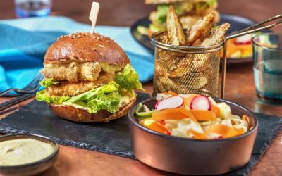 Chicken Katsu Burger and Katsu Curry Mayo with Sesame Wedges and Pickled Salad