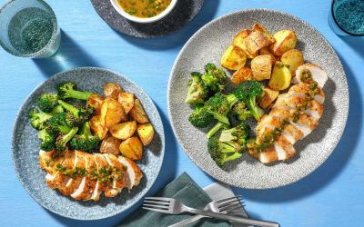 Chicken Piccata with Butterfly Garlic Sauce and Roasted Broccoli