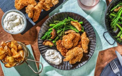 Crispy Japanese-Style Fried Chicken with Sesame Wedges, Stir-Fried Vegetables and Sesame Mayo