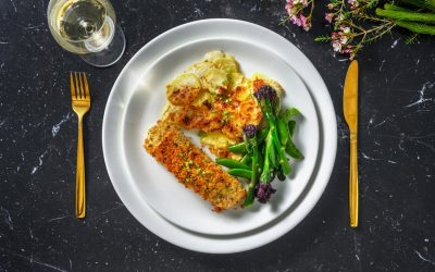 Herb Crusted Salmon with Cheesy Dauphinoise, Purple Sprouting Broccoli and Sugar Snaps