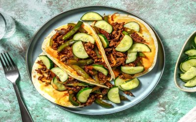Korean Style Beef Tacos with Sriracha Mayo and Pickled Cucumber