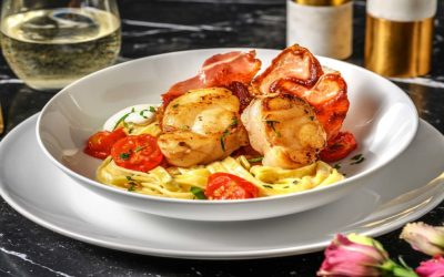 Pan-Fried Monkfish and Creamy Tagliatelle with Serrano Ham and Slow Roasted Garlic Tomatoes