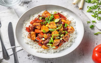 Sweet and Sour Style Chicken with Pepper and Rice